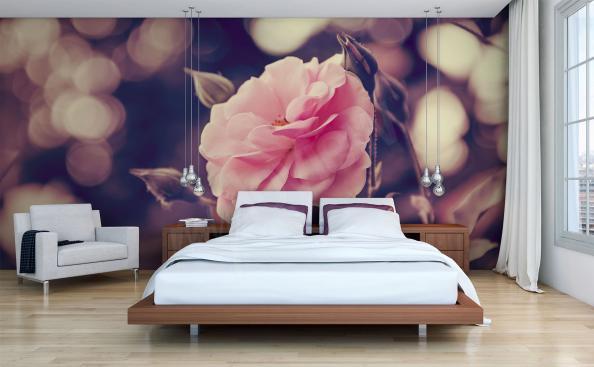 Fotomural rosa en el dormitorio