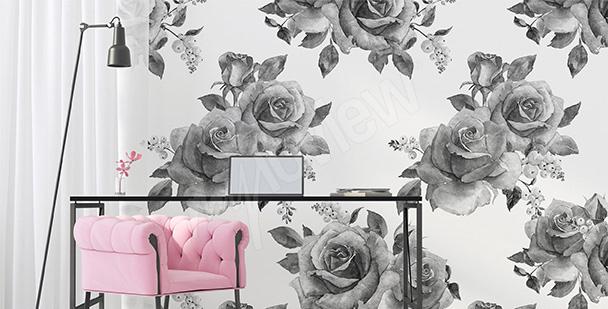 Fotomural rosas en blanco y negro