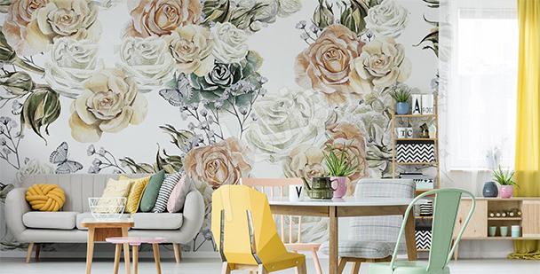 Fotomural rosas en colores pastel