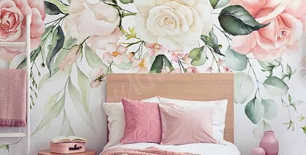 Fotomural rosas pastel
