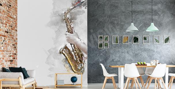 Fotomural saxofón en acuarela