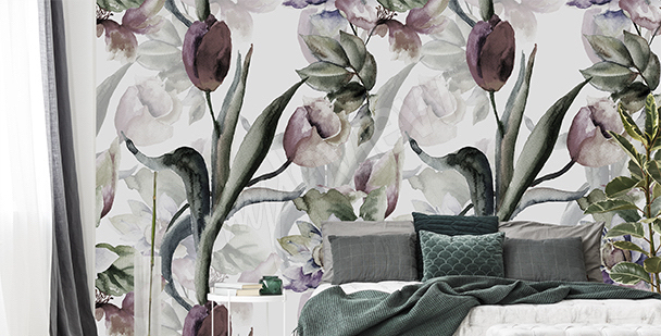 Fotomural tulipanes en acuarela