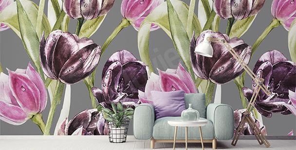 Fotomural tulipanes y el rocío