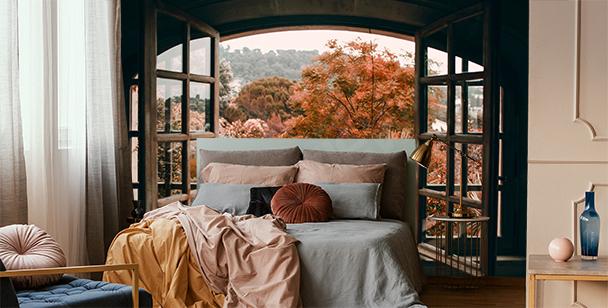 Fotomural ventana con vista al bosque