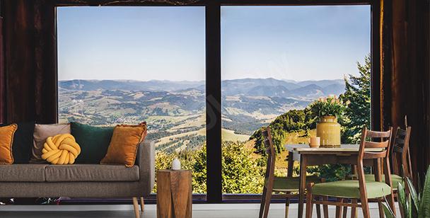 Fotomural ventana con vista de montaña