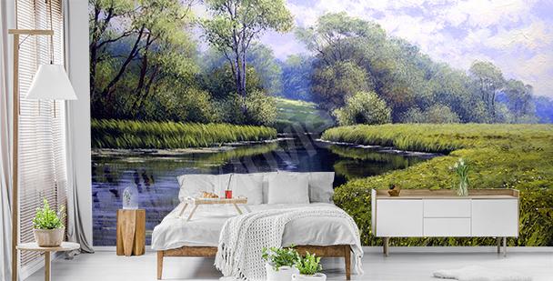 Fotomural verde con paisaje