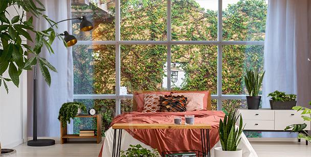 Fotomural verde fuera de la ventana