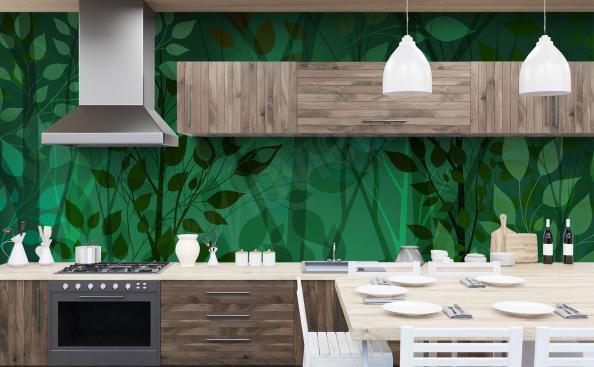 Fotomural verde para la cocina