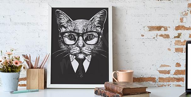 Ilustración blanco y negro de un gato