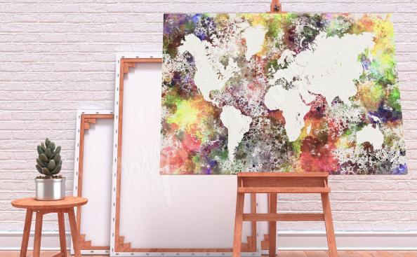 Mapa coloreado de la cuadro del mundo