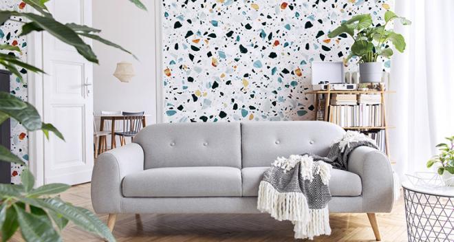 Papel pintado en la sala de estar en una pared - una forma eficaz de decorar el interior