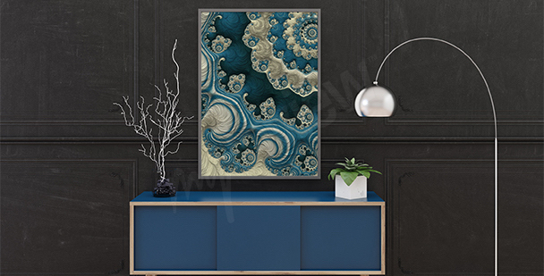 Póster abstracto de arrecifes de coral