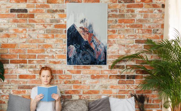 Póster abstracto montañas