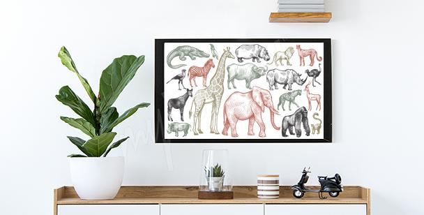 Póster animales de África
