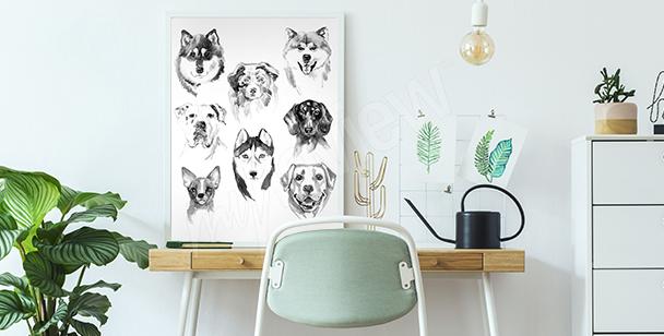 Póster animales pintados con acuarelas