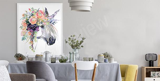 Póster apastelado con unicornio