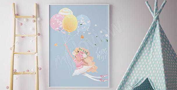 Póster bailarina con globos