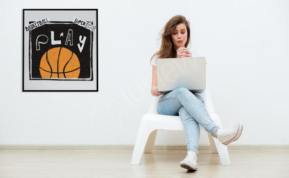 Póster baloncesto con inscripciones