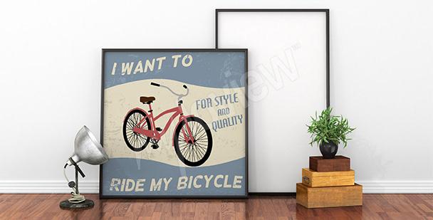 Póster bicicleta roja