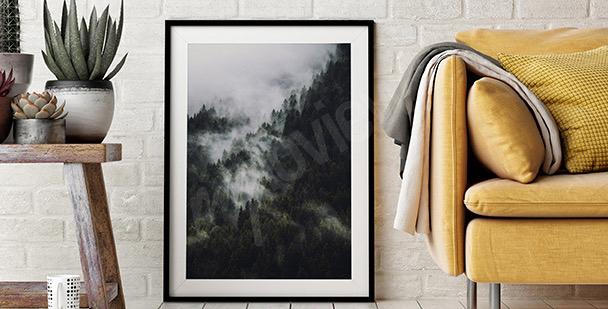 Póster bosque en la niebla