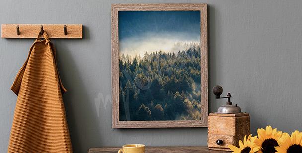 Póster bosque en las montañas