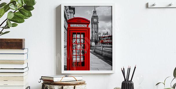 Póster cabina telefónica roja