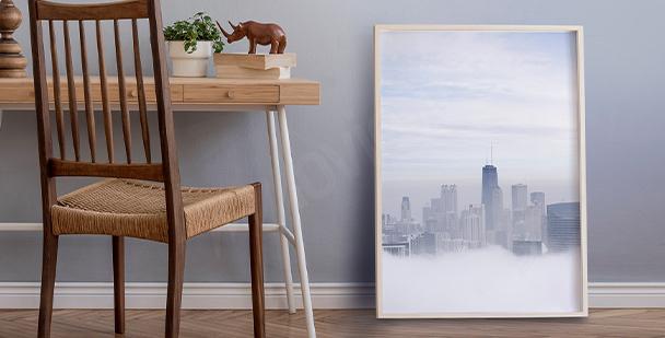 Póster ciudad en la niebla