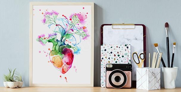 Póster colorido con corazón