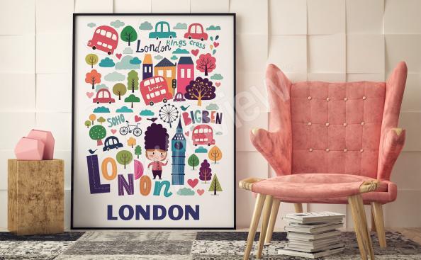 Póster colorido símbolos de Londres