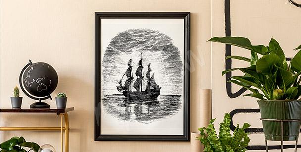 Póster con barco en blanco y negro