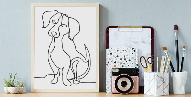 Póster con boceto de perro