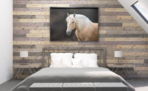 Póster con caballo blanco para el dormitorio