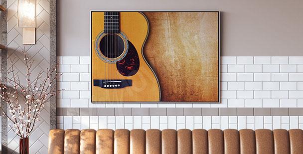 Póster con guitarra acústica