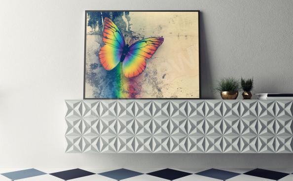 Póster con mariposa en colores del arcoiris