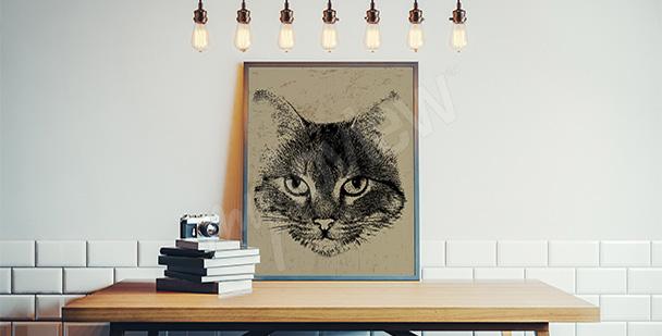 Póster con un gato vintage