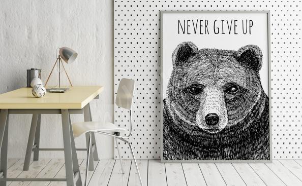Poster con un oso y subtítulos