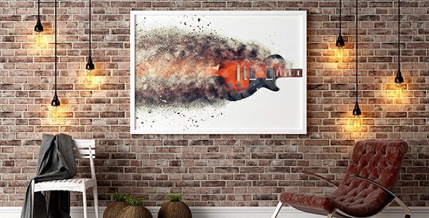 Póster con una guitarra ardiendo