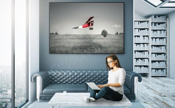 Póster de avión rojo