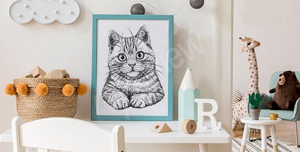 Póster dibujo con un gato