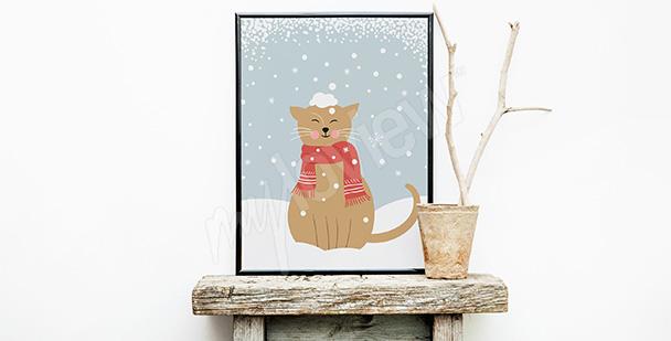 Póster gato en la nieve
