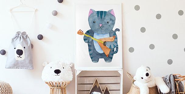 Póster gato músico para un niño