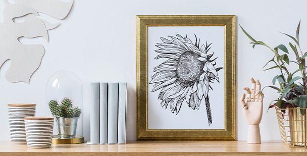 Póster ilustración de girasol