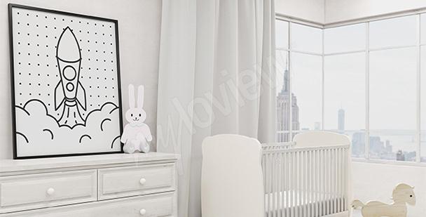 Póster infantil en blanco y negro