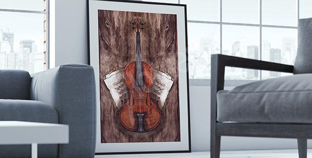Póster instrumentos violín