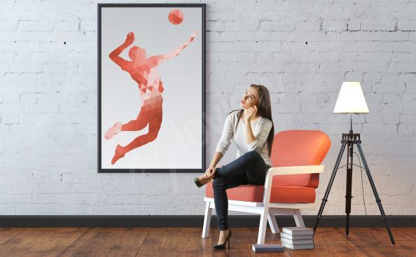 Póster jugador de voleibol y pelota