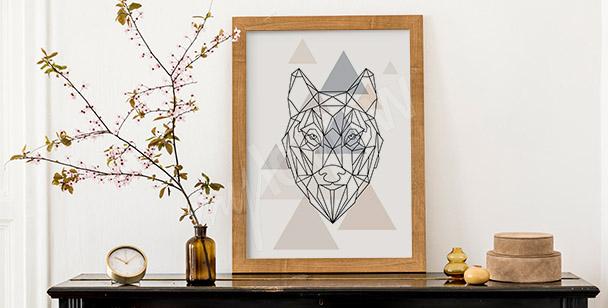 Póster lobo en geometría