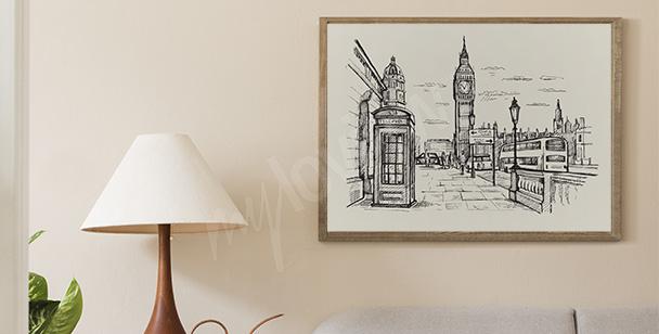 Póster Londres en blanco y negro