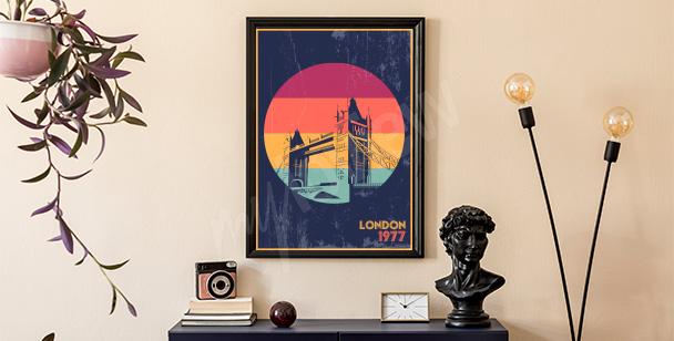 Póster Londres en estilo retro