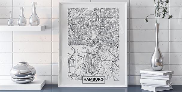Póster mapa de Hamburgo