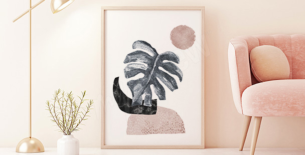 Póster minimalista con monstera